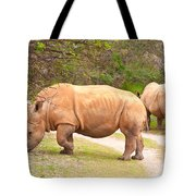 White Rhinoceros Tote Bag by Tom Gowanlock