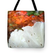 White Rhododendron Flowers Autumn Floral Prints Tote Bag by Baslee Troutman