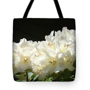 White Sunlit Floral Art Prints Rhododendron Flowers Tote Bag by Baslee Troutman
