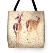 White Tails In The Snow Tote Bag by Amy Tyler