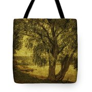Willow At The Lake. Golden Green Series Tote Bag by Jenny Rainbow