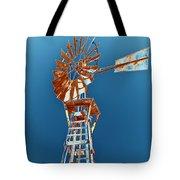 Windmill Rust Orange With Blue Sky Tote Bag by Rebecca Margraf