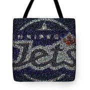 Winnipeg Jets Puck Mosaic Tote Bag by Paul Van Scott