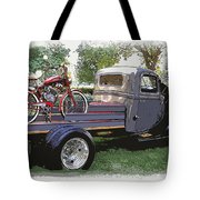 Wizzer Cycle At The Hot Rod Show Tote Bag by Steve McKinzie