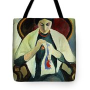 Woman Sewing Tote Bag by August Macke