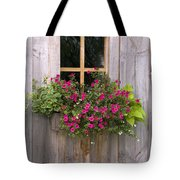 Wooden Shed With A Flower Box Under The Tote Bag by Michael Interisano