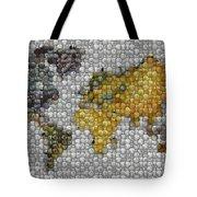 World Map Coin Mosaic Tote Bag by Paul Van Scott