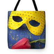 Yellow Mask And Red Tulip Tote Bag by Garry Gay