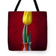 Yellow Tulip In Colorfdul Vase Tote Bag by Garry Gay