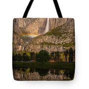 Yosemite Falls Moonbow Reflection Tote Bag by Marc Crumpler