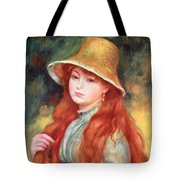Young Girl With Long Hair Tote Bag by Pierre Auguste Renoir