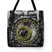 Bw Prague The Horologue At Oldtownhall Tote Bag by Yuriy  Shevchuk