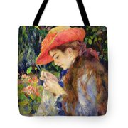 Marie Therese Durand Ruel Sewing Tote Bag by Pierre Auguste Renoir