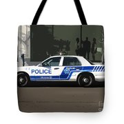 Montreal Police Car Poster Art Tote Bag by Reb Frost