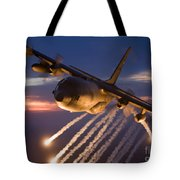 A C-130 Hercules Releases Flares Tote Bag by HIGH-G Productions