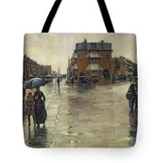 A Rainy Day In Boston Tote Bag by Childe Hassam