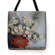 Chrysanthemums Tote Bag by Claude Monet