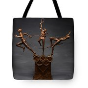Citius Altius Fortius Olympic Art On Gray Tote Bag by Adam Long