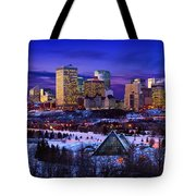 Edmonton Winter Skyline Tote Bag by Corey Hochachka