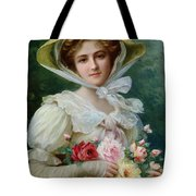 Elegant Lady With A Bouquet Of Roses Tote Bag by Emile Vernon