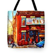 Fairmount Bagel In Winter Tote Bag by Carole Spandau