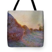 Haystacks Tote Bag by Claude Monet