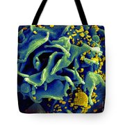 Hiv-infected T Cell, Sem Tote Bag by Science Source