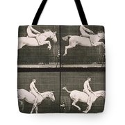 Man and horse jumping a fence Tote Bag by Eadweard Muybridge