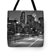 Minneapolis Skyline from Stone Arch Bridge Tote Bag by Jon Holiday