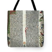 Page Of The Gutenberg Bible, 1455 Tote Bag by Photo Researchers