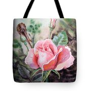 Pink Rose with Dew Drops Tote Bag by Irina Sztukowski
