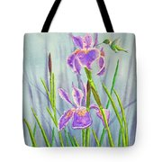 Purple Dutch Iris And Hummer Tote Bag by Kathryn Duncan
