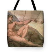 The Creation Of Adam Tote Bag by Michelangelo Buonarroti