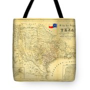 1849 Texas Map Tote Bag by Bill Cannon