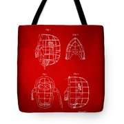 1878 Baseball Catchers Mask Patent - Red Tote Bag by Nikki Marie Smith