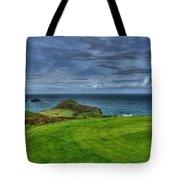 1st Green Cape Cornwall Golf Club Tote Bag by Chris Thaxter