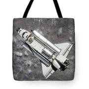 Aerial View Of Space Shuttle Discovery Tote Bag by Stocktrek Images