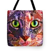 Feline Face Abstract Tote Bag by David G Paul