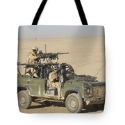 Gurkhas Patrol Afghanistan In A Land Tote Bag by Andrew Chittock
