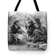 3 Men And A Dog Panning For Gold C. 1889 Tote Bag by Daniel Hagerman