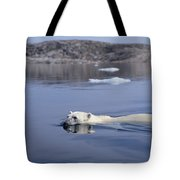 Polar Bear Swimming Wager Bay Canada Tote Bag by Flip Nicklin