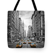 5th Avenue Yellow Cabs - Nyc Tote Bag by Melanie Viola