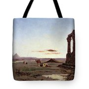 A Bedouin Encampment By A Ruined Temple  Tote Bag by Alexandre Gabriel Decamps
