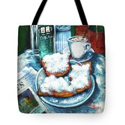 A Beignet Morning Tote Bag by Dianne Parks