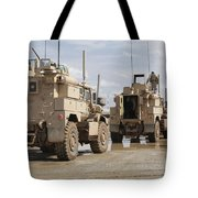 A Convoy Of Mrap Vehicles Near Camp Tote Bag by Stocktrek Images