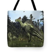 A Lambeosaurus Rears Onto Its Hind Legs Tote Bag by Walter Myers