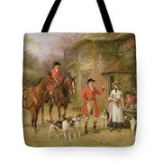 A Meeting At The Three Pigeons Tote Bag by Heywood Hardy