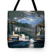 A Midnight Race On The Mississippi Tote Bag by Currier and Ives