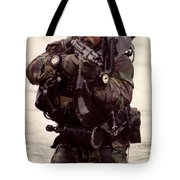 A Navy Seal Exits The Water Armed Tote Bag by Michael Wood
