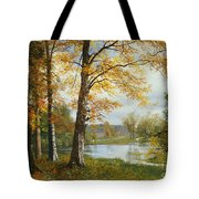 A Quiet Lake Tote Bag by Albert Bierstadt
